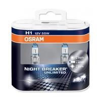 Галогенные автолампы Osram H1 Night Breaker Unlimited 3400K (+110% света) 64150NBU-HCB 12V 55W
