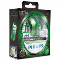 Галогенные лампы Philips Color Vision Green H4 3350K 12V 55W - 2шт.