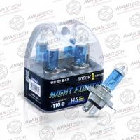 Галогенные автолампы Avantech H4 Night Fighter 5000K 12V 60/55W (135/125W) - 2 шт.