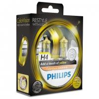 Галогенные лампы Philips Color Vision Yellow H4 3350K 12V 55W - 2шт.