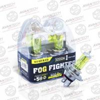 Галогенные автолампы Avantech H4 Fog Fighter 3000K 12V 60/55W (120/110W) - 2 шт.