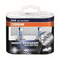 Галогенные автолампы Osram H4 Night Breaker Unlimited 3400K (+110% света) 64193NBU-HCB 12V 60/55W